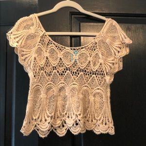 Lace trimmed crochet shirt